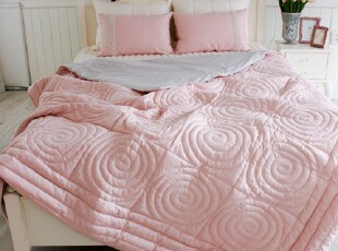 韩国进口代购 名牌衍缝粉色婚庆床上用品四件套,床品,
