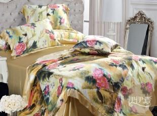 伊伊爱 真丝床单四件套 双面100%桑蚕丝 丝绸床上用品 国色天香,床品,