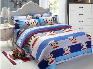 栩铃家纺 大嘴猴子 全棉斜纹印花 卡通床上用品四件套 包邮,床品,