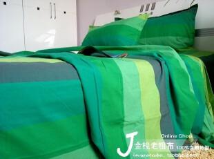 包邮 精品粗布全棉双人床单被罩被套枕套250*260六件套 绿江南,床品,