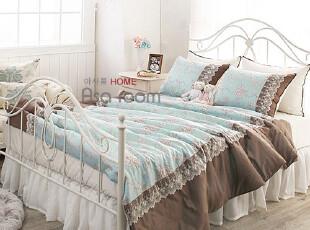 【Asa room】韩国进口代购床品 纯棉高档婚庆被套六件套蓝色c650,床品,