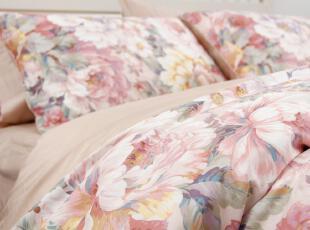 预售复古田园手绘纯棉斜纹贡缎双人床上用品四件套出口外贸面料,床品,
