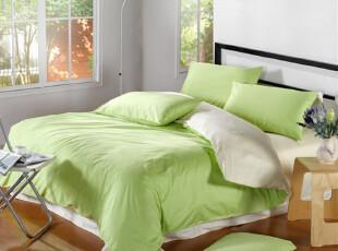 100%纯棉全棉高支高密纯色双拼色素色四件套床上用品,床品,