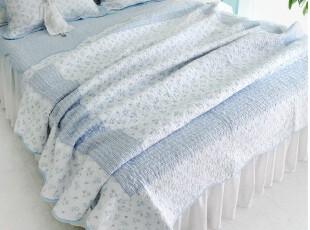 韩国正品代购 衍缝夏用被 空调被 蓝色薄被床上用品四件套,床品,