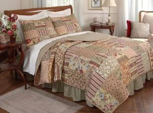 外贸原单 纯棉绗缝被 美式床盖 全棉拼布春秋被 床品三件套,床品,