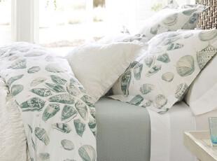 【纽约下城公园】 巴巴多斯海滩的贝壳 有机棉被套枕套三件套,床品,
