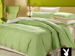 花花公子家纺 全棉贡缎活性斜纹 四件套 绿色特价 床上用品包邮,床品,