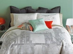 【纽约下城公园】伦敦名都雾色泰晤士河细炭画棉缎床品  多配件,床品,