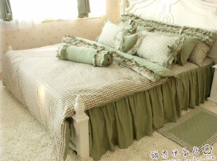 日韩风格家纺 全棉床上用品三四多件套 纯棉清新公主淑女床绿格子,床品,