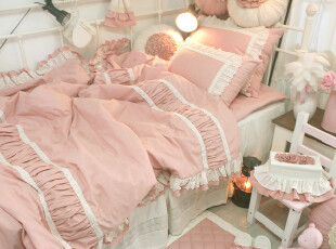 【Asa room】韩国进口代购床品粉色高档被套枕套三件套荷叶边c940,床品,