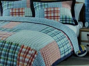 美式格子拼布绗缝被 床盖外贸原单 男孩床品 单人床被子 两件套,床品,