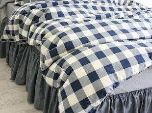 【Asa room】韩国进口代购床品 蓝色格子高档被套三件套正品 c871,床品,