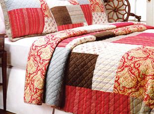 外贸原单 纯全棉拼块绗缝被 空调被 被子 欧美风 三件套 床盖,床品,
