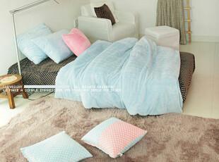 【Asa room】韩国进口代购床品 简约纯色短绒被套床罩四件套 c921,床品,
