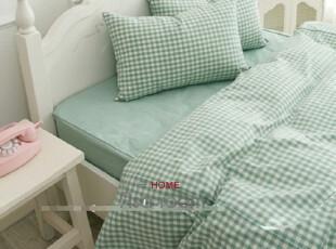 【Asa room】韩国进口床品 田园绿色格子纹简约被套三件套 c636,床品,