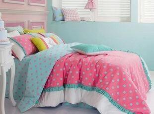 韩国代购 甜美荷叶边公主波点衍缝加棉被套4件套/床上用品套件,床品,