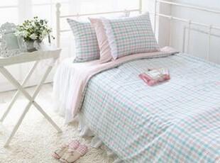 韩国进口床品 格子时尚荷叶边双面被套套件/床上用品三件套,床品,