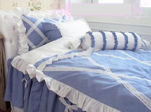 韩国定做床品*mc0554水蓝色蕾丝木耳边天使蝴蝶结床品套件 起价,床品,