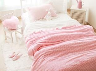 【韩国定做床品】mc2238 公主卧室粉色点点温暖茸茸床品套件,床品,