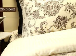 ZIM HOME 法式浪漫蔓枝花外贸原单全棉活性印花贡缎 床上用品四件,床品,