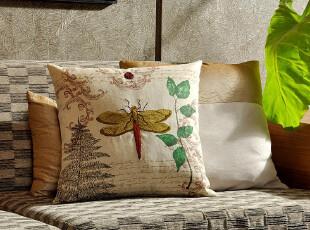 F2345-2 外贸单 棉麻 高密刺绣 精品抱枕套 昆虫系列 蜻蜓,床品,