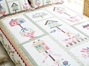 韩国夏季新品纯棉空调被绗缝床盖三件套 小鸟的家 蓝色 绿色两款,床品,