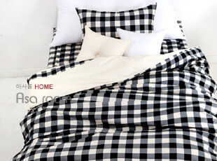 【Asa room】韩国进口代购床品 黑色格子纹纯棉四件套正品c172-bl,床品,