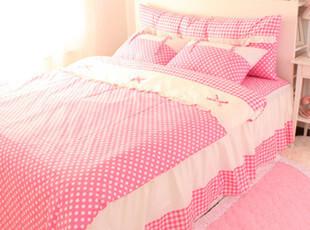 【Asa room】韩国进口床品 公主粉色水玉圆点被套四件套 c012-p,床品,