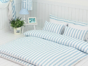 【Asa room】韩国进口代购床品 蓝色条纹公主地板用四件套 c467-b,床品,