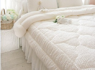 韩国代购短绒白色床品套件被子床上用品1.8四件套(多尺寸),床品,