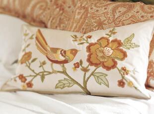 【纽约下城公园】毕丽泽小鸟刺绣靠垫/腰垫套,床品,