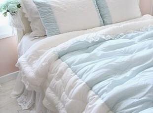 韩国直送 蓝色田园小碎花衍缝被套四件套/韩国进口床品套件,床品,