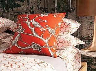 简单的奢华 花开富贵柿子红色棉麻混织欧式方枕,床品,