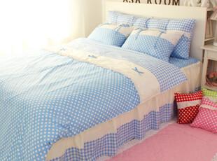 【Asa room】韩国进口床品 蓝色时尚水玉圆点被套四件套 c012-b,床品,