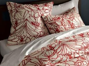 美国代购正品Westelm素描秀大花被罩套件 高档床品,床品,
