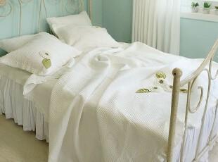 韩国正品代购 夏用被 薄被白色衍缝空调被三件套,床品,