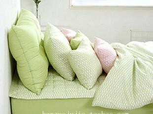 【Asa room】韩国进口床品 时尚绿色纯棉被套四件套代购正品 c420,床品,