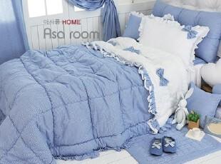 【Asa room】韩国进口床品 简约蓝色田园格子纹被子四件套 c714-2,床品,
