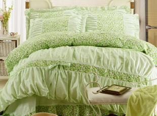 雅吖 全棉花边床上用品四件套 韩式田园公主风格家纺套件,床品,