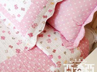 【粉色蝴蝶结】外贸纯棉绗缝被衍缝夏被/床盖 三件套四件套现货,床品,