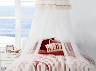 艾莱依家纺正品 床上用品 夏凉用品吊挂圆顶蚊帐--纤姿,床品,