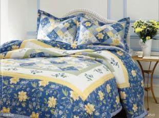 外贸原单 全纯棉绗缝被/空调被/被子 田园风 绣花床盖 三件套,床品,
