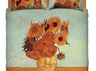 意大利代购 Bassetti 床上用品 梵高油画 向日葵 双人床四件套,床品,