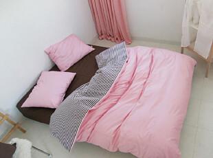 【Asa room】韩国进口代购床品 公主粉色双面用纯棉简约四件 c900,床品,