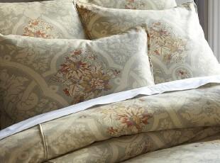 简单的奢华 美国代购包邮 卡米拉灰蓝色棉麻混织印花被套,床品,