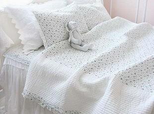 韩国官网代购 清凉蓝色小碎花衍缝床品四件套/床上用品 蓝色,床品,