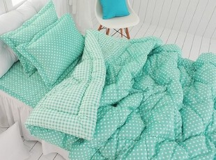 【Asa room】韩国进口代购床品绿色圆点短绒田园被子四件套c736-g,床品,