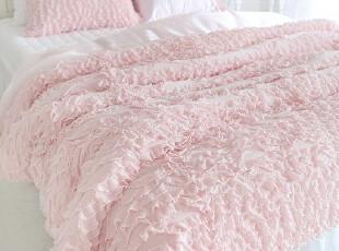 韩国进口 代购 粉色荷叶边床上用品3件套,床品,