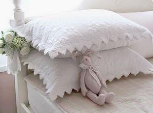 韩国正品代购 洁白波浪花边衍缝枕头套/双人枕套 单个价格,床品,