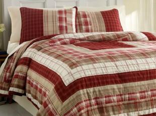 美国代购正品BEDBATHBEYOND床品Nautica格纹床罩 绗缝被 枕套套件,床品,